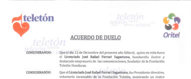 ¡Acuerdo De Duelo Teletón Honduras!