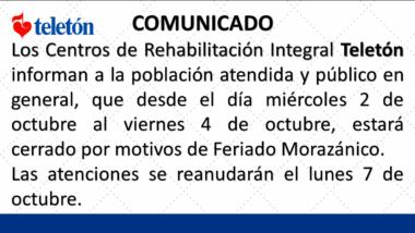 Comunicado Feriado Morazánico